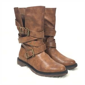 SO Katsura Women's Brown Moto Boots Size 8.5 Med